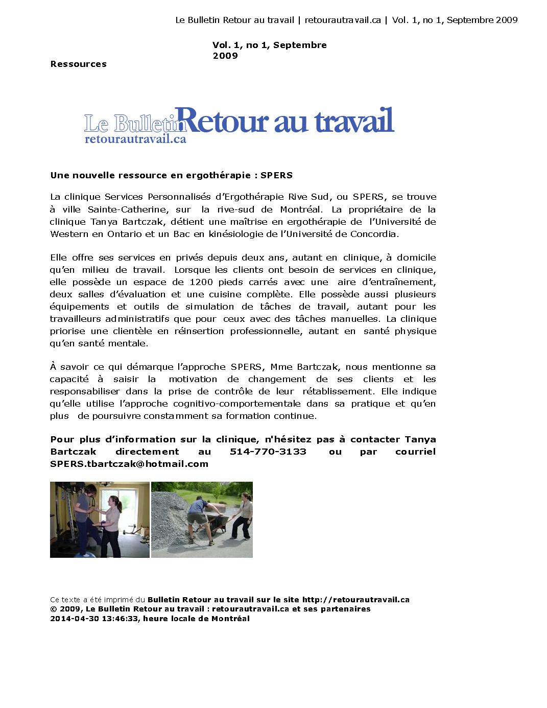 Le Bulletin Retour au travail  sept 2009